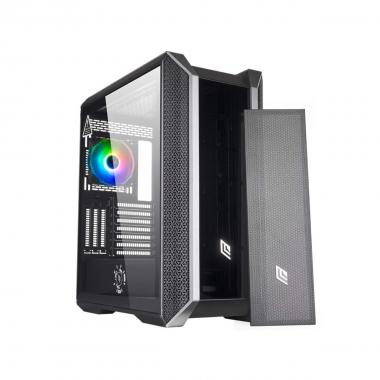 Case Atx Noua Iron V1 Black 0.80MM SPCC 4*USB3.0/2.0 1*TYPC-C 1*Fan Rgb Rainbow Addressable 5V 3Pin Front Glass/Mesh Intercambiabile