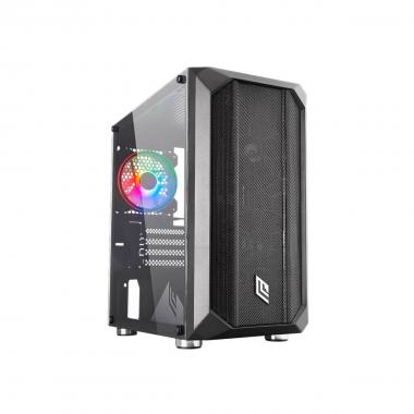 Case Micro Tower Noua Fobia L2 0.60MM SPCC 3*USB3.0/2.0 1*Fan Triplo Halo Rgb Rainbow 5V Front Mesh &Side Glass