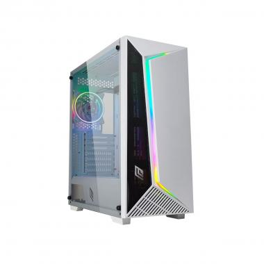 Case Atx Noua Iron V9 White 0.60MM SPCC 3*USB3.0/2.0 1*FanWhite Dual Halo Slim Rgb Rainbow Addressable 1*Strip Addressable Side Glass